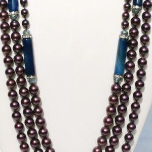 Long Boho Necklace Purple Blue Bling Multi Strand